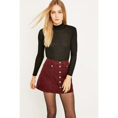 Cooperative by Urban Outfitters Urban Outfitters Button Front Burgundy... (€25) ❤ liked on Polyvore featuring skirts, mini skirts, maroon, short skirts, button front skirt, stretch mini skirt, corduroy skirt and mini skirt