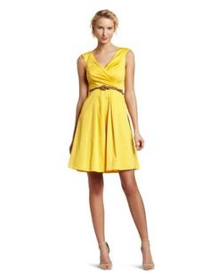 Jessica Simpson Women's V-Neck Belted Cotton Dress