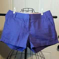 "J. CREW Chino Shorts sz 2 Beautiful purple broken in Chino shorts, smoke and pet free home  Waist 15.5""  Rise 8"" Inseam 4.25"" J. Crew Shorts"