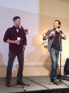 Jared and Jensen are literally wearing Sam and Dean's wardrobe. #chicon