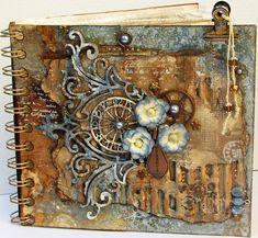 Steampunk - Gone - Glam - Scrapbook.com  / Me gusta la idea de poner abalorios de cristal en un trozo de cordón, colgando de una pinza metálica.