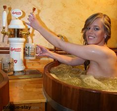 BEER SPA! Drink beer and Soak in tubs- this is a SPA! Immerse yourself in a warm whirlpool bath of hot water enriched with hops, malt and living cultures of brewery yeast. After you sit in the beer bath for 20 minutes you are then moved to a relaxation area where you will rest on an oat bed for 25-30 minutes while your body sweats out toxins. As an extra-added bonus you can drink a cooled lager while you are in the beer bath as there are beer taps located next to the wooden vats.