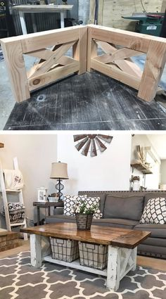 DIY Farmhouse Coffee Table for the home living room #coffeetable #farmhouse #diyfurniturelivingroom