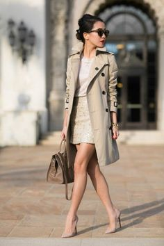 J Brand sweater - Burberry trench - Banana Republic skirt - Yves Saint Laurent bag - Louboutin heels - Karen Walker sunglasses