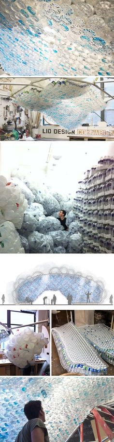 """Head in the Clouds"" is a large structure constructed from aluminum, wood, and 53,780 recycled plastic bottles and water jugs. It also calls attention to the nearly 48 million plastic bottles thrown away every day in the US."
