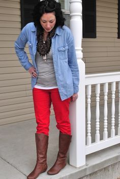 coral pants in winter