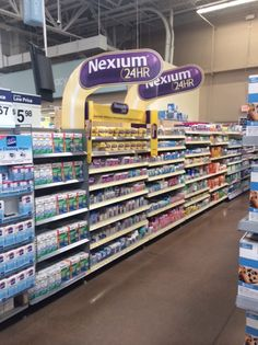 Nexium 24 Hour In-line Display.  What's good? Aisle violators and shelf organization system provides significant brand blocking and destination for shoppers