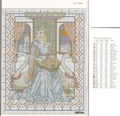 0 point de croix princesse et instrument - cross stitch princess and instrument