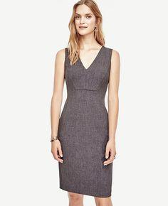 Seamed V-Neck Sheath Dress x Ann Taylor
