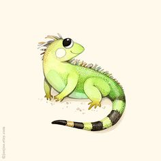 ABC animals, I is for Iguana, Baby nursery decor, Iguana painting, Iguana print, Nursery art, Alphabet print, Iguana illustration, kids art