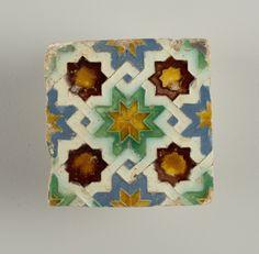 Tile (Spain), 16th century; glazed moulded earthenware; H x W x D: 2.5 x 13.3 x 13.3 cm (1 x 5 1/4 x 5 1/4 in.) Cooper-Hewitt Museum