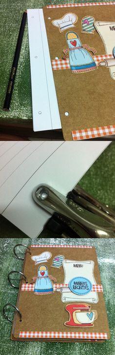 Aprenda a fazer um livro de receitas com material de scrapbook. Passo-a-passo lindo e fácil de fazer para você deixar suas receitas organizadas.