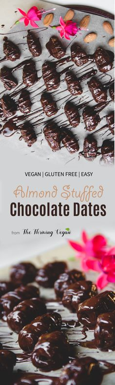 Make your own healthy and vegan chocolate candy! These dark chocolate almond dates are a nutritious and energizing snack.