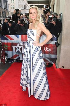 All eyes on her: Amanda Holden was off to a good start at the Britain's Got Talent Launch in London on Wednesday as she turned heads in a backless striped dress Britain's Got Talent, Amanda Holden, Holly Willoughby, Cocktail Gowns, Celebs, Celebrities, Sexy Body, Striped Dress, Going Out