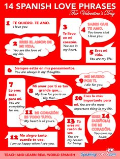 An infographic that features 14 Spanish love phrases with English translations. Express your love on Valentine's Day! An infographic that features 14 Spanish love phrases with English translations. Express your love on Valentine's Day! Spanish Vocabulary, Spanish Grammar, Spanish Language Learning, Spanish Teacher, Learn A New Language, Spanish Classroom, Teaching Spanish, Spanish Idioms, Spanish Alphabet