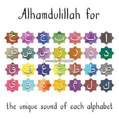 155: Alhamdulillah for the unique sound of each alphabet.  #AlhamdulillahForSeries  سلسلةالحمدلله#