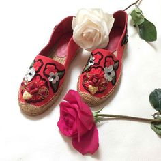 Checkout this moment from ModeSens's closet for Locket, Flower & Jewel Embroidered Espadrilles by DOLCE & GABBANA!