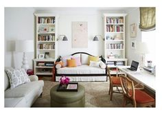 *Daybed idea with small desk between L storage cabinet/bedside table and couch.