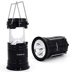 GARMAR Camping Lantern Flashlight Solar Portable Outdoor LED lights Rechargeable Bright Night Lamp for Hiking Camping Emergencies Hurricanes Outages Black * Learn more by visiting the image link.