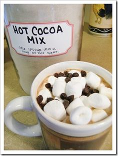 HOT COCOA MIX  4 cups dry powdered milk  1 cup non-dairy powdered coffee creamer  4 cups powdered sugar  1 cup Dutch cocoa  Combine all ingredients in a large bowl, use a wire whisk to blend everything together well.  Store in a large airtight container.  To serve – add 1/4 cup of mix to a mug of hot water.  Top with mini marshmallows and chocolate chips!