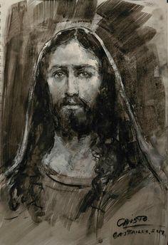 Retrato de Cristo. 2014 Carboncillo y óleo/papel. José Luis Castrillo.