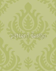 Vorschau Muster Designtapete Grüner Barock