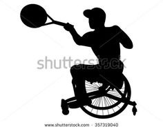 The silhouette of the wheelchair tennis player. - stock vector