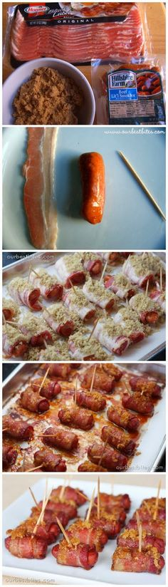 Bacon-Wrapped Cocktail Sausages - A super easy and yummy appetizer for any party, especially Super Bowl. Cocktail sausage, bacon, and brown . Quick Recipes, Brunch Recipes, Cooking Recipes, Bacon Recipes, Yummy Recipes, Cooking Tips, Yummy Appetizers, Appetizer Recipes, Kisses Recipe
