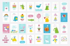 31 Cute Birthday card. Poster Templates. $15.00