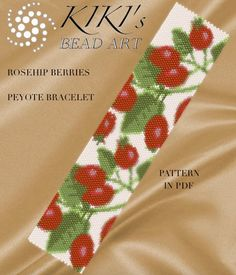 This is an own designed pattern in PDF format, downloadable directly from Etsy.  This pattern is for my Rosehip berries bracelet cuff, which is created in even, single peyote.  The pdf file includes: 1. a large picture of the pattern 2. a large, detailed graph of the pattern, 3. a bead legend with the colour numbers and count of the delica beads for the suggested length 4. a word chart of the pattern.  Please note that my patterns do not include instructions for how to do the peyote stitch…