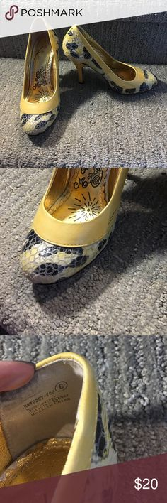 Heels Yellow Naughty Monkey. Adorable . Worn once to a wedding. 3 inch heel naughty monkey Shoes Heels