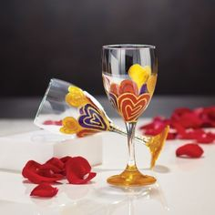 Hand-Painted Hearts Wine Glass