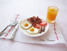 Breakfast+Set+1/12th+Scale+Dollhouse+Miniature+by+PetiteCreation,+$20.00