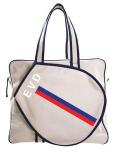tennis bag-red and blue stripe with WHITE letters