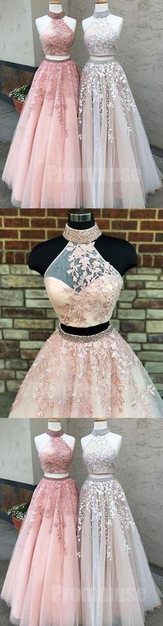 New Arrival Pink Prom Dress,2018 Prom Dresses 2 pieces Long Sexy 2 piece Lace Prom Gown H0047 #2piecespromdress #2piece #2pieces #twopieces #promdress #promdresses #hiprom #prom #GraduationDress #2018 #PartyDress #laceprom