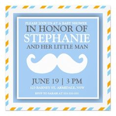 Mustache baby boy shower invites