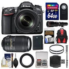 Nikon D7100 Digital SLR Camera & 18-140mm VR DX Lens (Black) with 55-300mm & 500mm Lenses + 64GB Card + Backpack + Battery + Monopod + Filters Kit