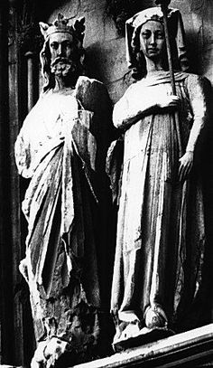 Statues of King Edward I of England, and his consort, Eleanor of Castile, Lincoln Cathedral. Eleanor's paternal great grandmother and namesake was Eleanor of Aquitaine (by Henry II), and, ironically, her maternal great grandfather was Eleanor of Aquitaine's 1st husband, Louis VII.