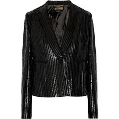 Versace Sequined crepe blazer ($1,515) ❤ liked on Polyvore featuring outerwear, jackets, blazers, coats, black, faux jacket, versace jacket, embellished jacket, black sequin blazer and black sequin jacket