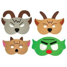 Three Billy Goats Gruff masks, could be adapted to hats as well.