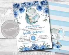 Elephant Baby Boy Shower Invitation, EDITABLE, Blue Flowers, Baby Animals, Printable Template, BABY1003 Online Printing, Elephant Baby Boy, Etsy Cards, Photo Center, Baby Shower Invitations For Boys, Lets Celebrate, Baby Boy Shower, Blue Flowers
