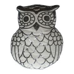 Sequined Owl Pillow in White | Dorm Room Decor | OCM.com
