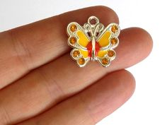 5 Yellow Enamel Butterfly Charms  Crystal by StashofCharms on Etsy