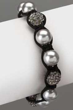 Ocean Pearl & Cord Bracelet In Gray    @Pam Quimuyog please buy thissss!(: