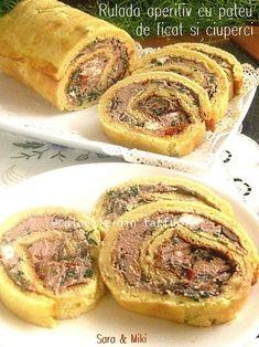 Rulada-aperitiv-cu-pateu-de ficat-si-ciuperci-1 Good Food, Yummy Food, Dukan Diet, Feel Better, Carne, Food And Drink, Appetizers, Snacks, Dinner
