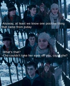 The look on Ginny's face... Let's also appreciate the look Fred and George are giving each other, cause I'm pretty sure they knew she still liked him.
