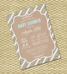 Baby Shower Invitation Rustic Baby Shower by SunshinePrintables