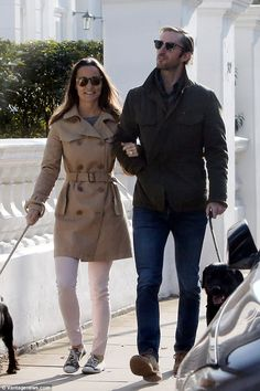 Pippa and James walked arm in arm with their dogs, the first time they have been pictured ...