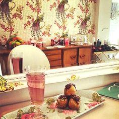 cocktails and profiteroles at The Parlour #boutique #retro #hair #salon #London www.theparlourlondon.com