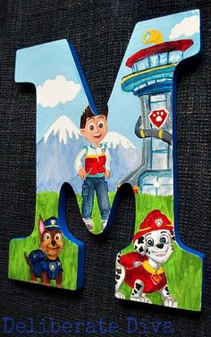Paw Patrol theme (special order request) Letter M customized by Deliberate Diva on Etsy. Contact me if you would like a custom order!